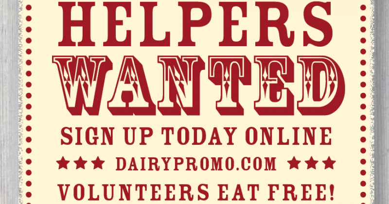 Volunteers Eat Free – 2018 – We Want You!
