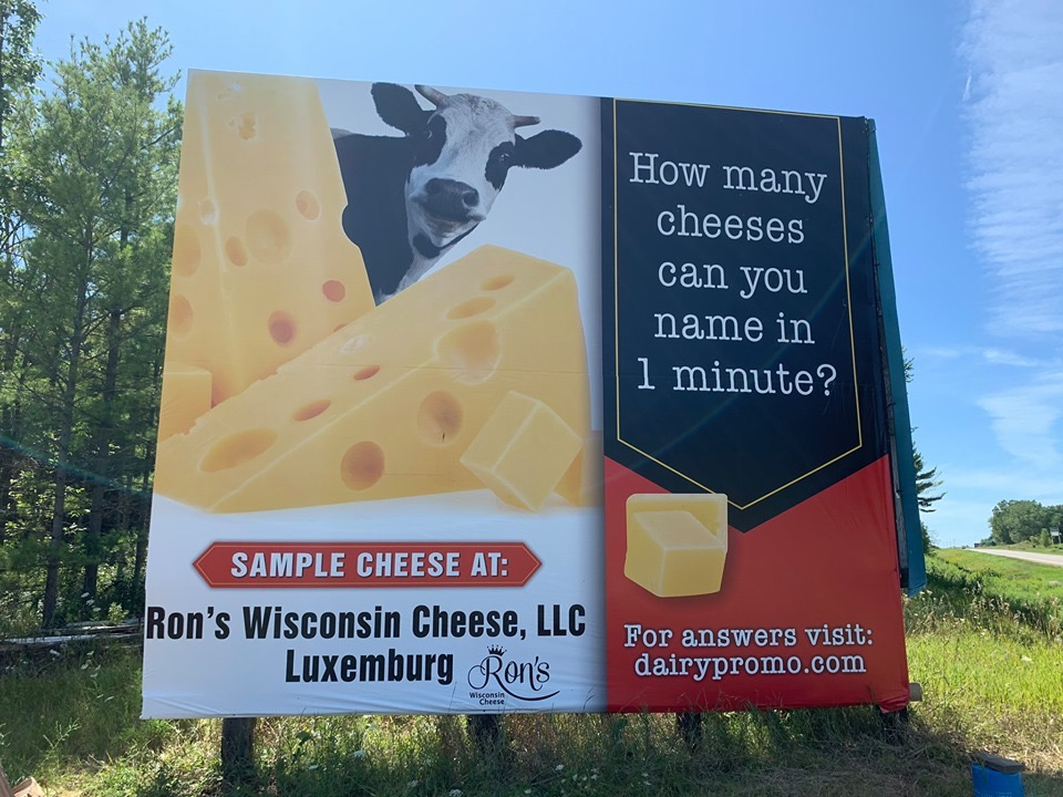 Billboard Hwy 54 - how many cheeses can you name in under a minute